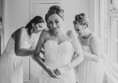 Bride laughing, wedding day