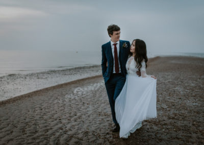 bride and groom portraits on Whitstable beach