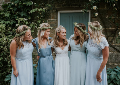 Bride and bridesmaids, wedding day