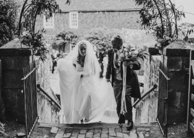 Bride and her father, Brightling Church