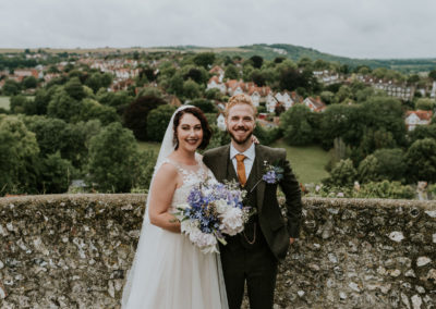 Bride and Groom and views over Lewes Castle
