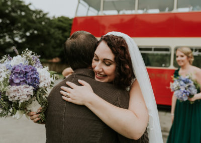 wedding, vintage bus