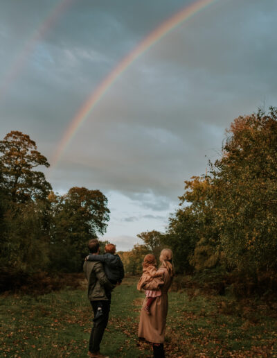 Family watching a rainbow during photoshoot