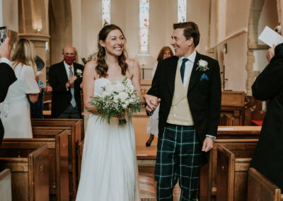 Bride and groom just married in Limpsfield Church