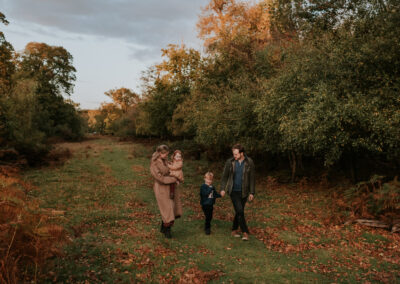 Family walking in the Autumn colour